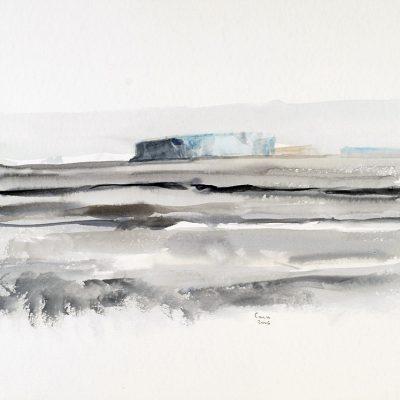 2-2-2006, El océano nos mostraba cómo se iba congelando, dibujando en el índigo increíbles formas. Día 31, 2006. Acuarela, 42 x 56 cm