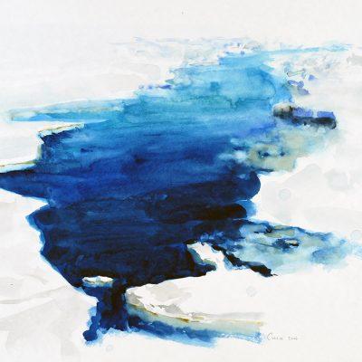 15-1-2006, La grieta. Abertura de agua luego de una embestida del buque contra el hielo. Día 13, 2006. Acuarela, 42 x 56 cm