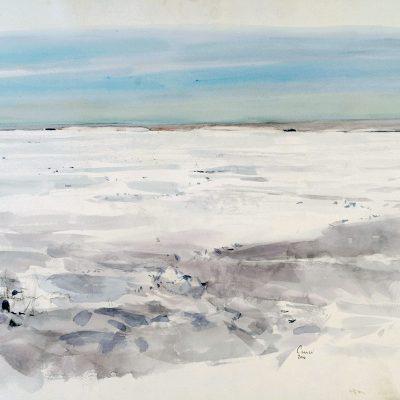 30-1-2006, La barrera de 12 a 16 hs. Día 28, 2006. Acuarela, 56 x 76 cm