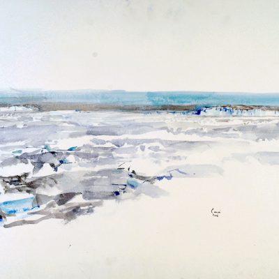 15-1-2006, 3er. Quedada llegando a Belgrano II - 2,5º C a la intemperie, Día 13, Acuarela, 56 x 76 cm