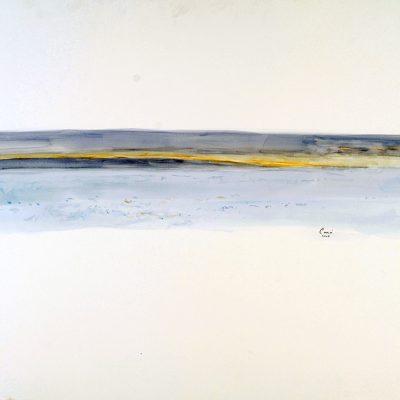25-1-2006, Horizonte de la barrera, Continente Antártico, Varados en el hielo. Aproximadamente a 1.300 km del Polo Sur, 2006. Acuarela, 56 x 76 cm