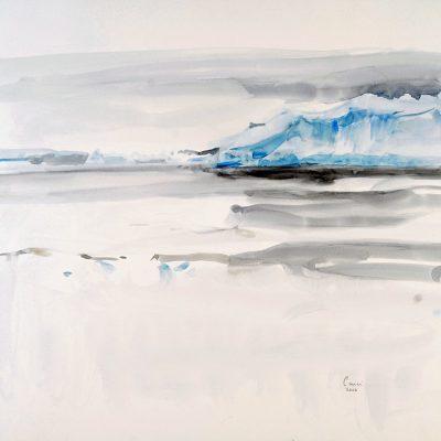 2-2-2006, Témpanos cerca de la barrera. Una ciudad de gigantes de hielo sobre el azul-negro del océano. El regreso. Día 31, 2006. Acuarela, 56 x 76 cm