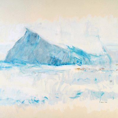 26-1-2006, seguimos varados en el hielo. El buque solo se desplazo unos metros alejándose del témpano. Día 24. Acuarela, lápiz, pigmento, 56 x 76 cm