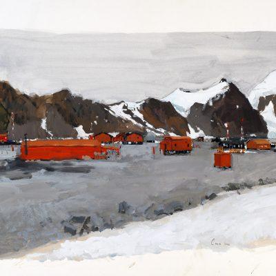 6-2-2006, Desde la morena rodeada de lobos marinos, Base Orcadas, Día 35, 2006. Témpera, 56 x 76 cm