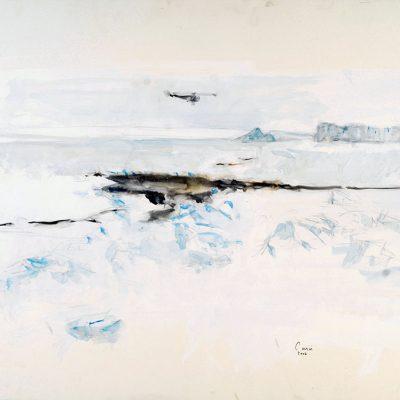 """18-1-2006, Descargando en Belgrano II(estribor cerca de cola de pato). Dia 16"""", Acuarela y pigmento, 2006. 56 x 76 cm"""