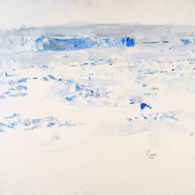 """17-1-2006. cubierta 03 a Babor (mucho frío y estaba en la sombra). Día 15"""" Acuarela, 2006. 56 x 76 cm"""