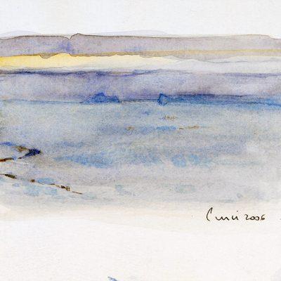 """16-1-2006. Día 14"""". Acuarela, 2006. 10 x 15 cm"""