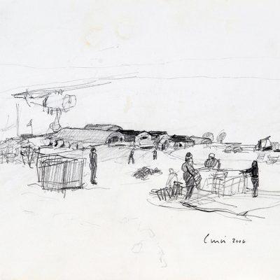 """19-1-2006, Base Belgrano II (el helicóptero al acercarse levanto mucho viento y me lleno de nieve mojando el papel y todo). Día 17"""", 2006. Grafito, 17 x 24 cm"""