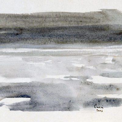"""10-1-2006, día del cruce 13 a 15hs. Día 8"""" Tempera, 2006. 17 x 24 cm"""