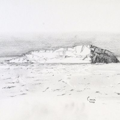 """23-1-2006, témpano en el mar de Wedell. Día 21"""", Grafito, 2006. 25 x 35 cm"""