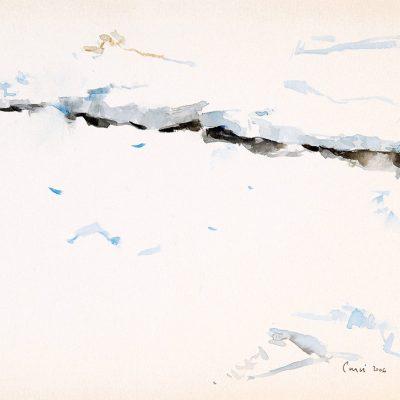 """24-1-2006, grieta en un bandejón, Día 22"""", Acuarela, 2006. 25 x 35 cm"""