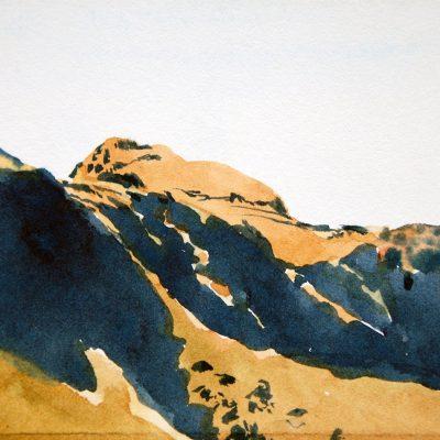 Sombras en la sierra de Córdoba, 2016. Acuarela, 10 x 10 cm