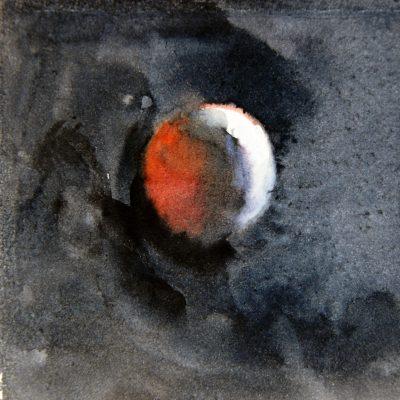 Luna en eclipse II, 2015. Acuarela, 10 x 10 cm