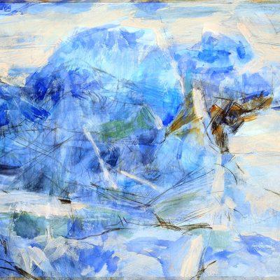 Roca, 2009. Acuarela y temple de cera sobre papel, 70 x 100 cm