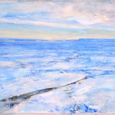 Azul infinito, 2008. Acuarela y temple de cera sobre papel,  70 x 100 cm