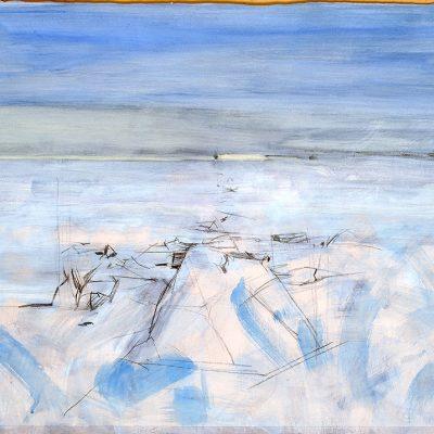 Témpano y continente, 2008. Acuarela y temple de cera, 70 x 100 cm