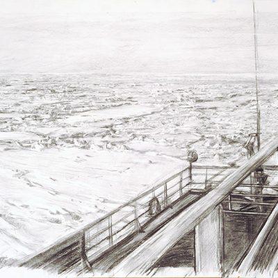 A popa, 2007. Carbón s/pape,  80 x 150 cm