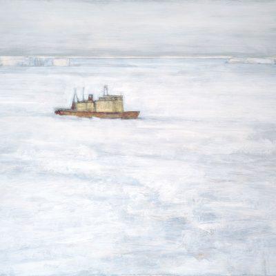El barco, 2008. Acuarela y templde de cera s/papel pegado en tela, 150 x 200 cm
