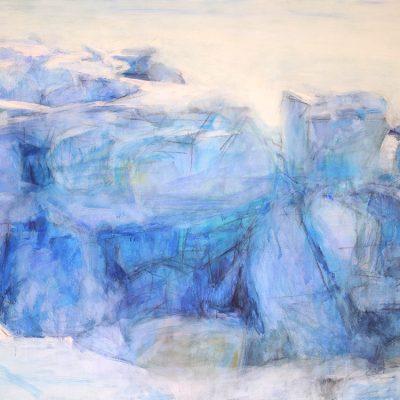 Dolmen, 2009. Acuarela y temple de cera s/tela, 150 x 200 cm