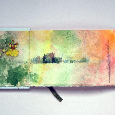 Libro blanco con aro, 2014. Acuarela y grafito sobre papel, 10 x 56 cm cerrado