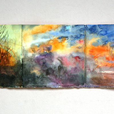 Libro violeta con luna, 2014. 10 x 56 cm abierto