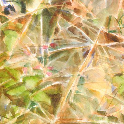 Pastos y hojas, 2004. Acuarela, 30 x 30 cm