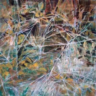 Pastos y hojas II, 2005. Temple al huevo sobre tabla, 40 x 40 cm