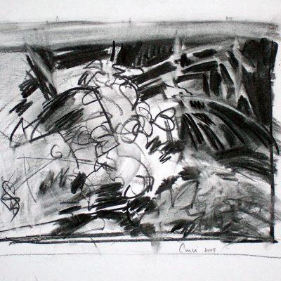 Composición Nro. 19, 2004. Carbón, 26 x 33 cm