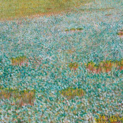 Campo de perifollos, 2005. Temple al huevo sobre tabla, 25 x 30 cm