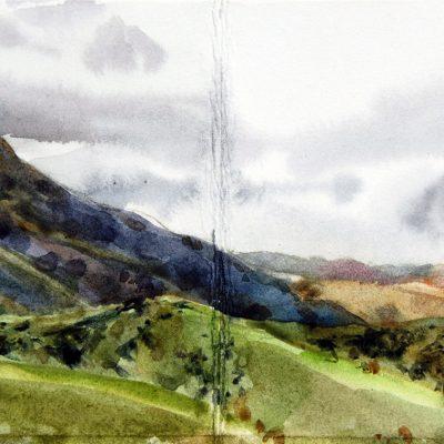 Sierras - Los Hornillos, 2017. Acuarela, 10 x 20 cm