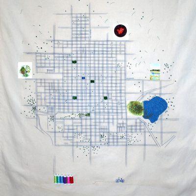 Recorrido, obra interactiva de bordado, 2018