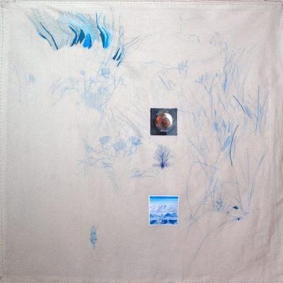 Paisaje Lunar, 2019. Lápiz pastel, lápiz de color, acuarela y bordado sobre tela y papel, 100 x 102 cm
